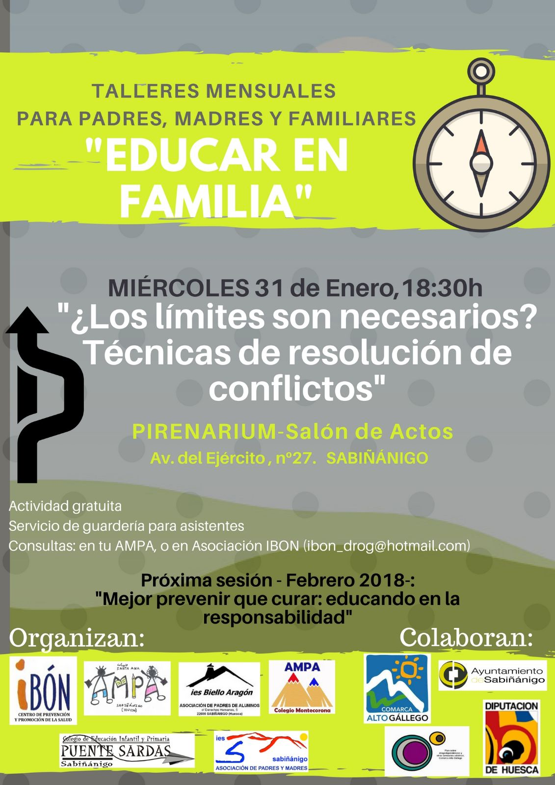 Educar en Familia. Talleres mensuales para padres, madres y familiares. 2017/2018.