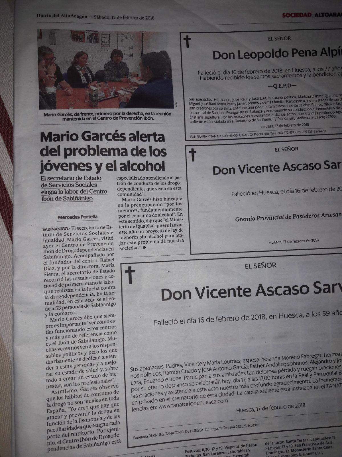 Nota de prensa con el Secretario de Estado de Servicios Sociales e Igualdad D. Mario Garcés.