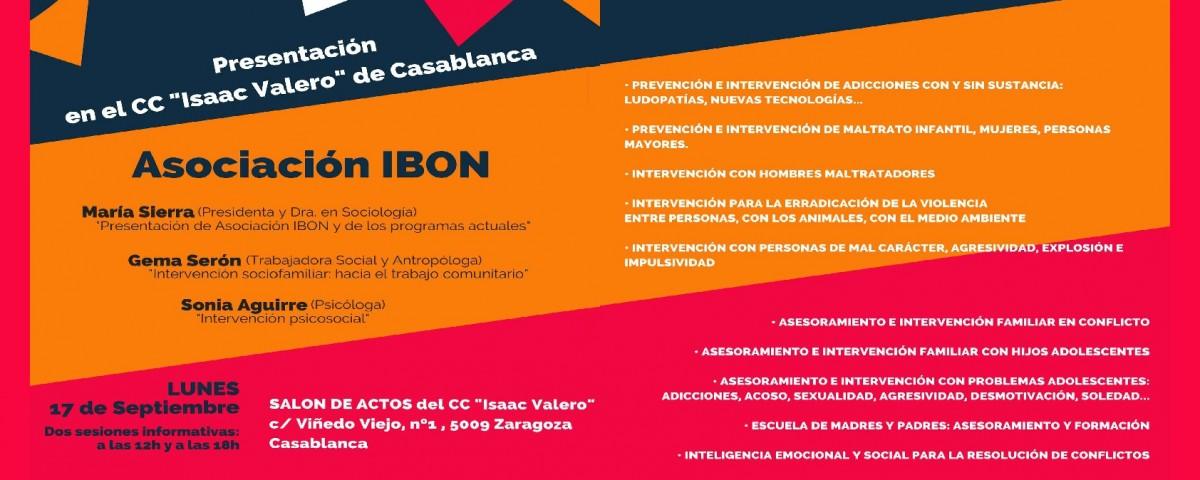 """Presentación  Asociación IBON en """"Isaac Valero"""" de Casablanca"""